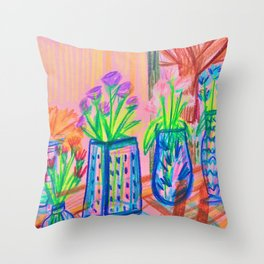 Flowers at Dawn Throw Pillow