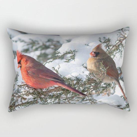 Sunny Winter Cardinals (square) Rectangular Pillow