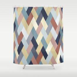 Earth Tones and Blues Geometry IA Shower Curtain