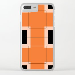 White Hairline Squares in Orange Clear iPhone Case
