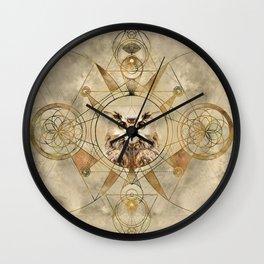 Owl Sacred Geometry Digital Art Wall Clock