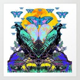 SURREAL BIRDS, BLUE BUTTERFLIES & GOLDEN MOON Art Print