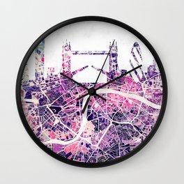 LONDON Skyline + map Wall Clock