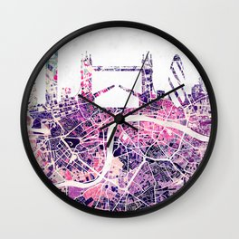 LONDON Skyline + map Wall Clock