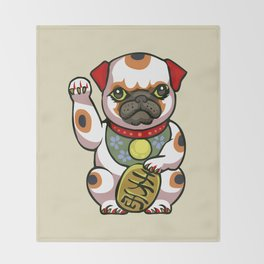 Maneki Pugko Throw Blanket