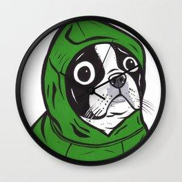 Boston Terrier Green Hoodie Wall Clock