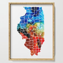Illinois - Map Counties by Sharon Cummings Serving Tray