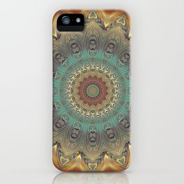 Indian Bohemian Flower Mandala Pattern, Gold Teal and Blue iPhone Case