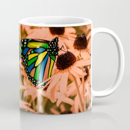Surreal Monarch Butterfly on Coral Flowers Coffee Mug