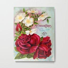 Vintage Roses Floral Gems 1897 Metal Print