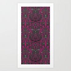 Aya damask fuchsia Art Print