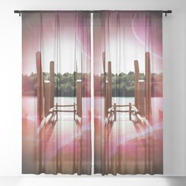 Our world is a magic - Boat dock  Sheer Curtain
