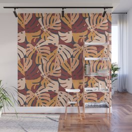 Color Block Monstera Leaves in Maroon Wall Mural