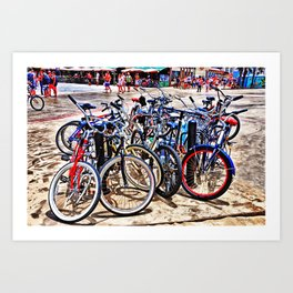 A gathering of bicycles Art Print