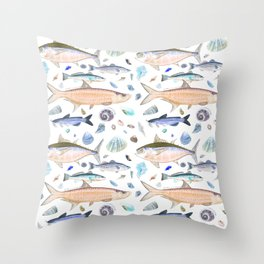 Shell Fish - Blue Orange Colorway - Casart Sea Life Treasures Collection Throw Pillow