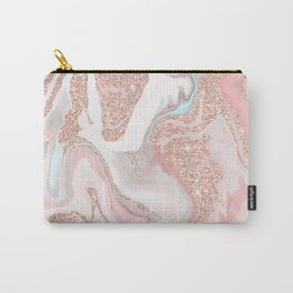 Modern rose gold glitter coral gray pastel marble marbling effect pattern Carry-All Pouch