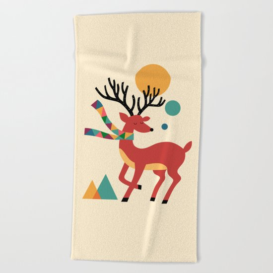 Deer Autumn Beach Towel