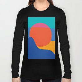 Mid Century Wall Art Black and White Mid Century Modern Art Print Retro Art Print Geometric Minimal Long Sleeve T-shirt