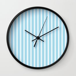 Trendy Large Blue Sky Pastel Blue French Mattress Ticking Double Stripes Wall Clock
