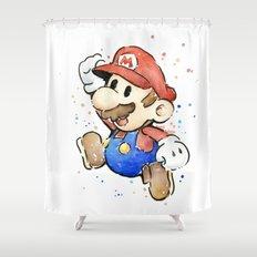 Mario Watercolor Shower Curtain