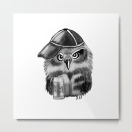 owl with soda and cap Metal Print