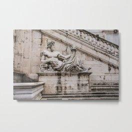 Statue of the Tiber at Piazza del Campidoglio in Rome Metal Print