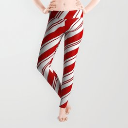 winter holiday xmas red white striped peppermint candy cane Leggings