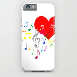 Singing Heart Color On White iPhone Case