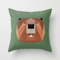 beaver Throw Pillows featuring Beaver by Alysha Dawn
