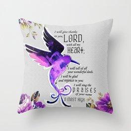 Hummingbird Psalm 9:1-2 Scripture Purple Abstract Collage Art Throw Pillow