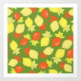 Tumbled Lemons Pattern Art Print