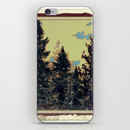 SHABBY CHIC ANTIQUE PHOTO PINE TREES ART iPhone Skin