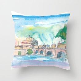 Rome Italy Castel Sant'Angelo Evening with Bridge Throw Pillow