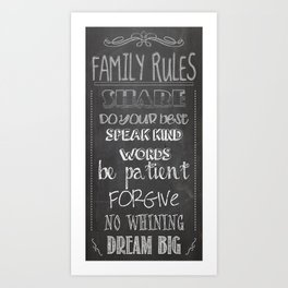 Family Rules  Art Print