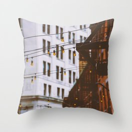 New York City Buildings and Lights (Color) Throw Pillow