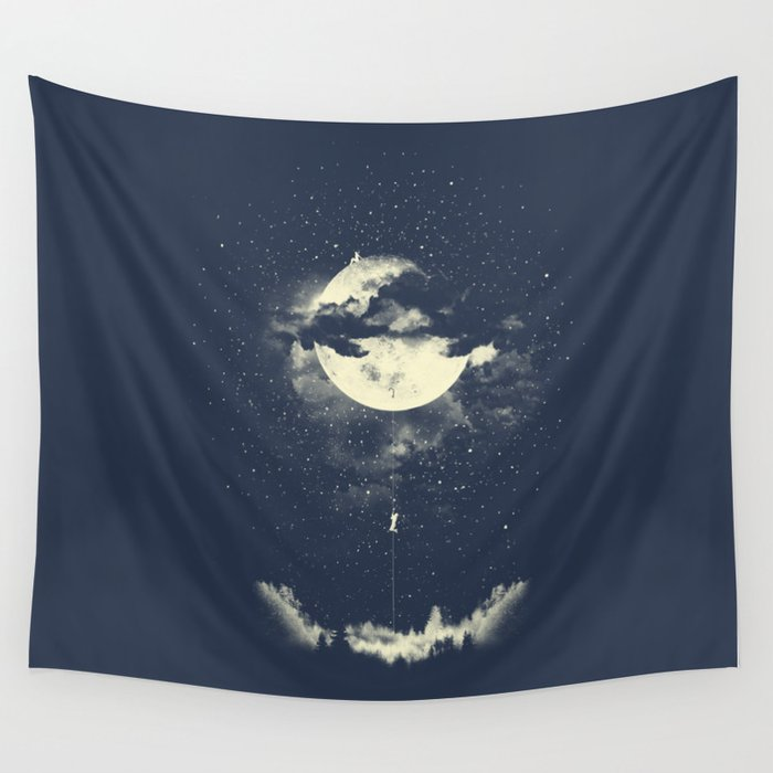 MOON CLIMBING Wall Tapestry