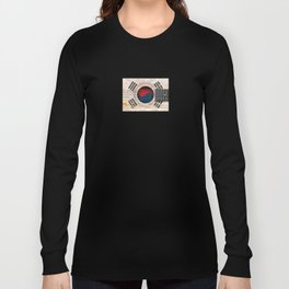 Old Vintage Acoustic Guitar with South Korean Flag Long Sleeve T-shirt