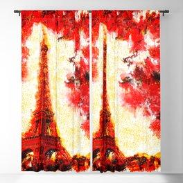 Autumn Eiffel Tower (Paris) - Watercolor ink painting - Landscape Blackout Curtain