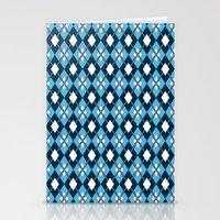 preppy Stationery Cards featuring Blue Preppy Argyle by markmurphycreative