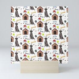 Labrador Retriever Black Half Drop Repeat Pattern Mini Art Print