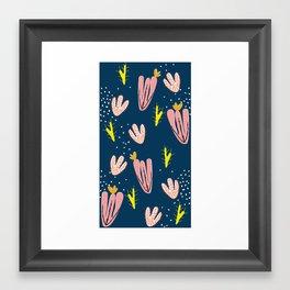cactus bloom navy Framed Art Print