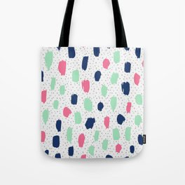 Pink blue brush strokes pattern Tote Bag