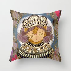 Regal Cat Lady of the Fall Harvest Moon Throw Pillow