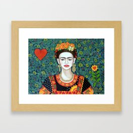 Frida, queen of hearts closer II Framed Art Print
