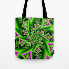 Green And Pink Shapes Fractal Tote Bag