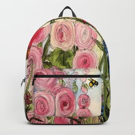 Cottage Garden Flower Whimsical Acrylic Painting Backpack