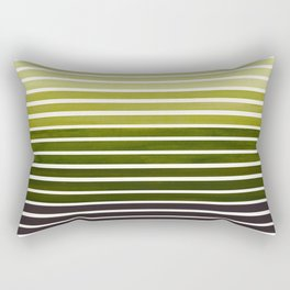 Watercolor Gouache Mid Century Modern Minimalist Colorful Olive Green Stripes Rectangular Pillow