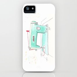 Vintage White 43-8 Sewing Machine in Aqua iPhone Case
