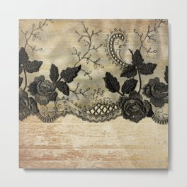 Black floral lace on wood  -Elegant and luxury design for women Metal Print