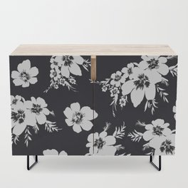Black and white graphic floral pattern Credenza